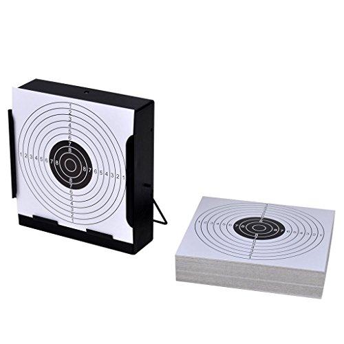 vidaXL Soporte cuandrado para blancos de tiro + 100 dianas de 14 cm, disparos