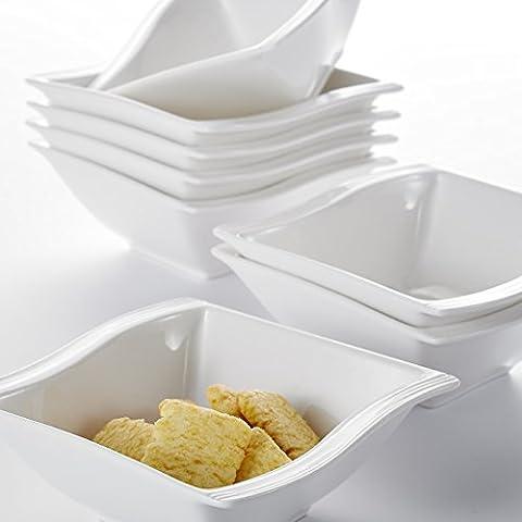 Malacasa, Serie Flora, 16 teilig Set Cremeweiß Porzellan Schüssel Schalen Müslischüssel Salatschüsseln Dessertschalen je 4,75