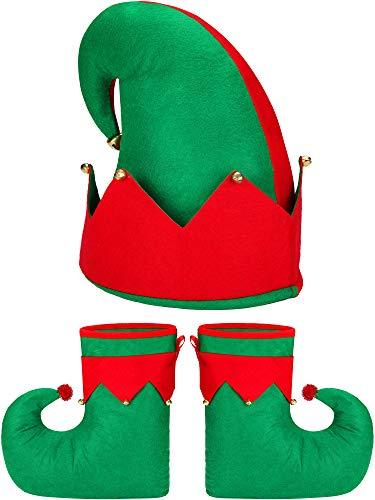 Santa Elf Kostüm Set Neuheit Elf Schuhe Elf Hut für Erwachsene Weihnachten Kostüm - Einfach Santa Kostüm