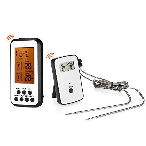 KKmoon Thermometer Funk Thermometer Set, Wireless Barbecue Thermometer, Grill Thermometer, Bratenthermometer, 2 Sonden Haushaltsthermometer Fleischthermometer - Wireless Barbecue Thermometer