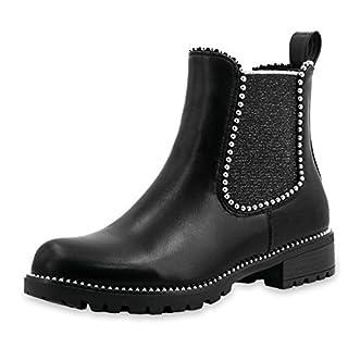 Marimo Damen Stiefeletten Chelsea Ankle Boots Wildlederoptik Blockabsatz mit Nieten Strass Profilsohle Schwarz 37