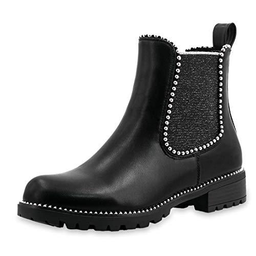 Marimo Damen Stiefeletten Chelsea Ankle Boots Wildlederoptik Blockabsatz mit Nieten Strass Profilsohle Schwarz 39