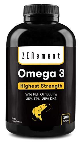 Omega-3 Aceite de Pescado Salvaje | 1000 mg x 200 perlas | Máxima concentración: 35% EPA...