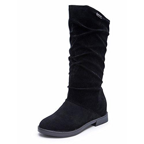 TianWlio Frauen Herbst Winter Stiefel Schuhe Stiefeletten Boots Winter Herbst Flache Stiefel Schuhe Hohe Bein Wildleder Kurze Lange Stiefel Schwarz 37