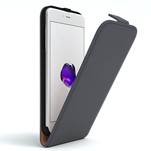 iPhone 8+ Hülle / iPhone 7+ Hülle - EAZY CASE Premium Flip Case Klapphülle für Apple iPhone 7 Plus & iPhone 8 Plus - Edle Schutzhülle aus Leder mit Magnetverschluss in Lila Anthrazit