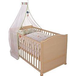 """Juego de cuna completa roba, diseño """"Woodland marriage"""", cuna en acabado madera natural incluye funda de nordico, protector de cuna, dosel y colchón, cuna de 70x140cm transformable en cama infantil."""