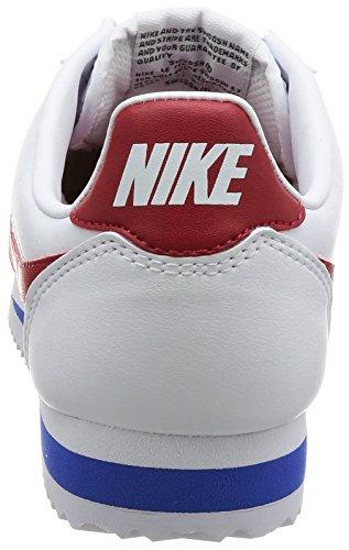 Nike Wmns Classic Cortez En Cuir, Scarpe Da Ginnastica Basse Donna Bianco (blanc / Universitaire Red-universitaire Royal)