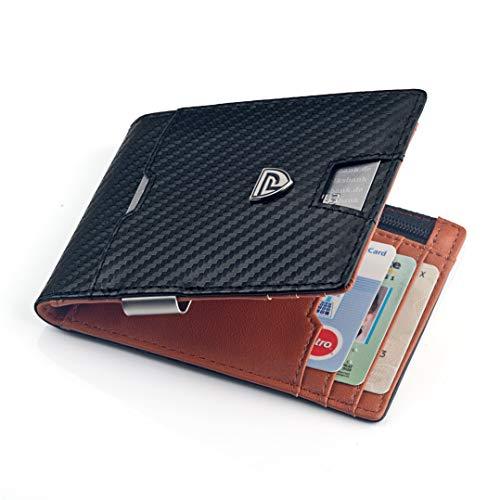 Paul Raos® - Designer Geldbörse für Herren - Geldbeutel mit 8 Innenfächern & je einem Außen- und Münzfach - Portemonnaie mit RFID Schutzfunktion - inkl. Geldklammer I Brieftasche I Wallet - Designer Herren Geldbörse