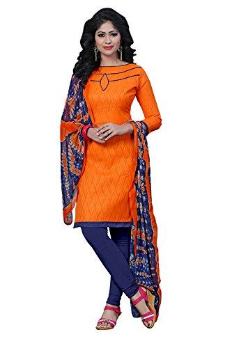 CmDeal Orange Color Cotton Printed Semi-Stitched Kurti-5624KITP40