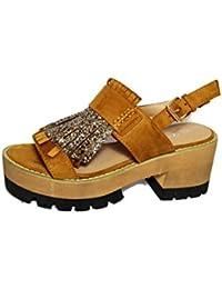 Sandalias de mujer con plataforma y flecos