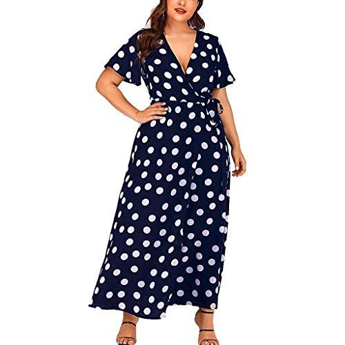 Holywin Damen Punkte Boho Minikleid Lady Beach Sommer Sommerkleid Maxikleid