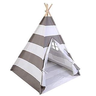 Zerone Children Teepee, Portable Playhouse Teepee Indoor / Outdoor Teepee Tent (Gray White)