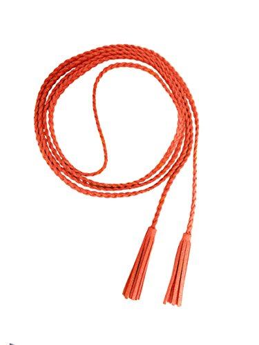 Nanxson Damen/Mädchen Dekorative Gestrickte Lederbauchkette/Seil/Gurt mit Troddel PDW0042 (orange) -