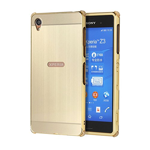 TOCASO Compatible for Spiegel Aluminium Hülle für Sony Xperia Z3 H Metall Handyhülle Case für Sony Xperia Z3 Case Schale Etui Luxus Chrom Rahmenschutz Glitzer Cover Anti Schock -Tyrant Gold
