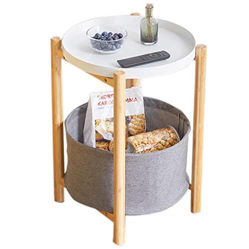 ZAQI Beistelltisch Couchtisch Nachttisch Balkontisch Akzent-Tabelle mit den hölzernen Beinen und Metallbehälter, Patio-Kinderzimmer-Kleiner Raum-Snack-Tisch im Freien, modern -