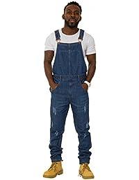 USKEES KEITH Salopette Homme Regular Fit - Look Foncé en jean Denim abrasion