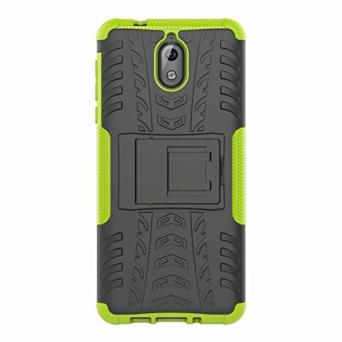 SHIEID Nokia 3.1-Hülle Tough Hybrid Armor Case,Diese Handyhülle Anti-Wrestling Travel Essential Faltbare Halterung für Nokia 3.1(Grün)