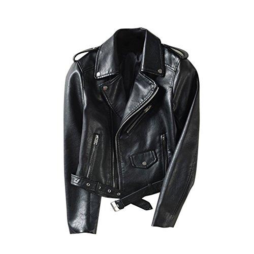 semen Damen Lederjacke Freizeit Übergangsjacke Biker Zip Motorradjacke Winddicht Warm Chopperjacke PU Jacke Herbst Slim Fit Modern