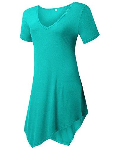 Moollyfox T-Shirt Casuel Col En V Court Femmes Manches Longues Herbe Vert