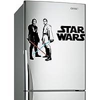 (60x 42cm) Star Wars vinilo adhesivo de pared/Obi Wan Kenobi & Anakin Skywalker con espada láser Die Cut Decoración Autoadhesivo Pegatina + Gratis Adhesivo Regalo.