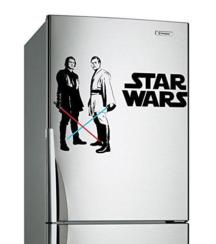 Vinilo decorativo de pared de vinilo de Star Wars (80x 45x 55cm)/Obi Wan Kenobi & Anakin Skywalker con espada láser Die Cut Decoración Autoadhesivo Pegatina + Gratis Adhesivo Regalo.