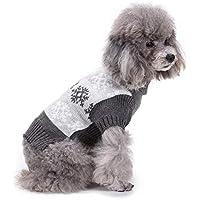 Arvin87Lyly Otoño e Invierno Mascota suéter Gato Perro Ropa de Navidad Patrón de Copo de Nieve Gris Mascota Ropa de Abrigo