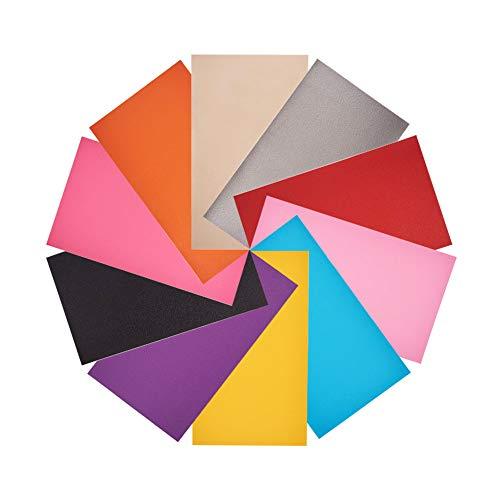 nbeads 20 Stück einfarbige Lederfolien, Stoff PU-Kunstleder, zum Herstellen von Geldbörse, Handtaschen, Nähen, Basteln, DIY-Projekte, gemischte Farben, 34 x 20 cm -
