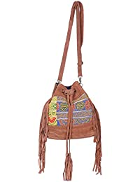 IndiWeaves Women Vintage Handmade Kilim Leather Handle Cross Body Sling Bag - B07657Y93K