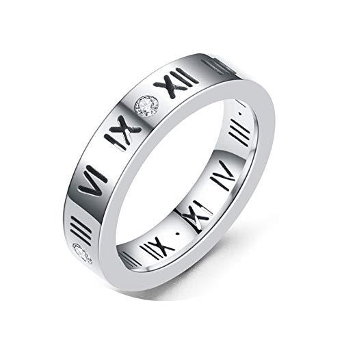 Epinki Vertrauensring Edelstahl 1 Pcs Ringe Römische Nummer mit Weiß Cubic Zirkonia Silber Ringe Trauringe Herrenringe Ringe Gr.52 (16.6)