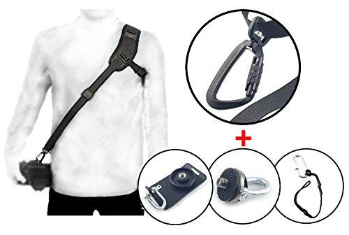 Kameragurt Schultergurt RAPID-01 + Befestigungs-Set (DEUTSCHER HÄNDLER) DSRL SLR + Secure Strap + Schnellmontageplatte + Adapterschraube 1/4 Zoll Adapterplatte / MIND-CARE-ESSENTIALS (Schultergurt 1)