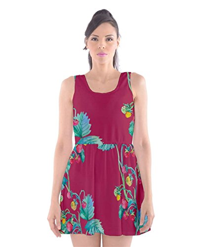 CowCow - perfetto Vines Scoop Collo Skater Dress Cherry