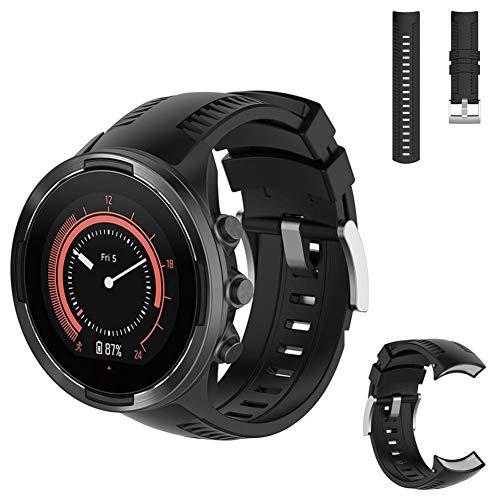AUTOECHO Auto Brazalete Echo para Suunto 9Baro Straps Multi Sport Smartwatch con Resistente kratzfestem para Pulsera de Silicona para Hombre Mujer (3Colores), Color Schwarz|Black