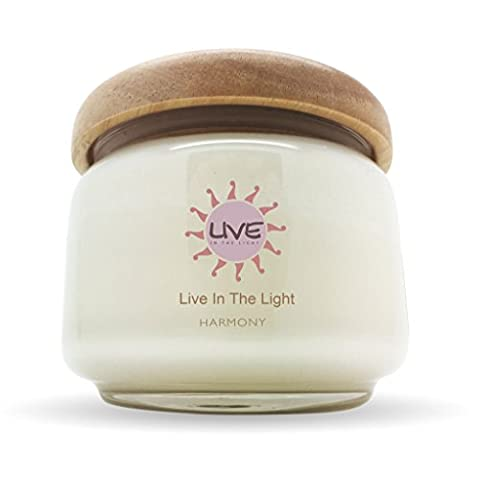 Natural Candles – Eco-friendly, Aromatherapy Natural Wax Candles with Essential Oils. Long Lasting approx. 50 hours burn time & Ideal for Stress Relief & Relaxation - HARMONY a peaceful blend of Citrus Lemon, Patchouli, Orange & Geranium. Available in 6 other