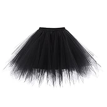 Bairicao Vintage Petticoat Crinolines Tutu Ballet Bubble Skirts Adult Tulle Dance Skirt (Black)