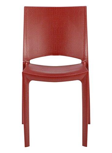 Grandsoleil Upon Cocco Chaise empilable, Polypropylène, Rouge Bordeaux, 49 x 48 x 80.5 cm