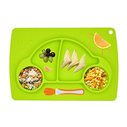 union-tesco-kids-placemat-divided-suction-plate-baby-weaning-bowl-green-car