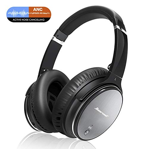 Bluetooth Wireless Kopfhörer Noise Cancelling - Hiearcool L1 HiFi Stereo Drahtlose Headset Over Ear mit Mikro Lautstärkeregler für alle Geräte mit Bluetooth oder 3,5 mm Klinkenstecker (schwarz L1) -