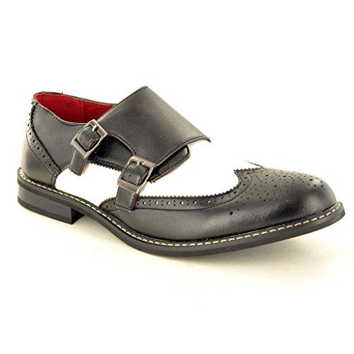 Herren Leder gefüttert Double Mönch Strap Slip On Brogue Büro Schuhe Schwarz/Weiß