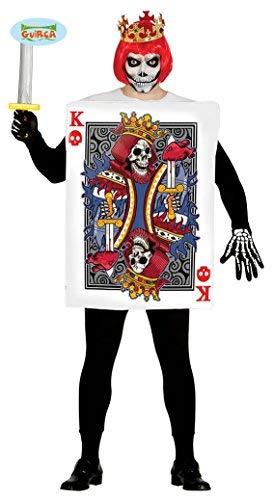 Herz Kostüm Karte Ass - Spielkarte König mit Totenkopf Halloween Kostüm für Herren Halloweenkostüm Herrenkostüm Horror Kartenspiel M/L, Größe:L