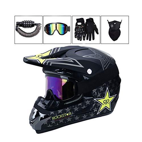 LEENY Motocross-Helm - Herren Motorrad Off-Road-Helm mit Brille/Maske/Handschuhe/Schloss, Cross-Helm DH Enduro ATV BMX Quad Motorradhelm für Männer Damen, Matt Schwarz,M -