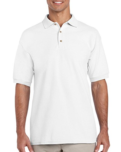 GILDAN Ultra Cotton Pique Polo Shirt Gr. Large, Weiß (Schule Ringer T-shirt Herren)