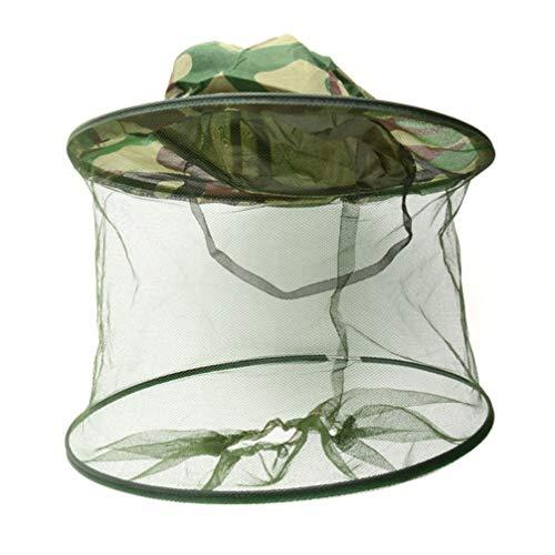 Garneck Tarnungsbienenzucht-Hut-Antimückenwanzen-Insektenmasken-Kopfnetz-Hutmaschen-Gesichtsschutz für Angelausrüstung im Freien