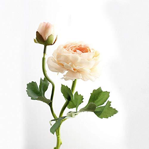 anjs456 Flores Artificiales Blancas Rosas Champagne Falso Lotus Flores Hermosa Rosa Real Toque Boda Casa Decoración Corona 2 Cabezas De Seda D Rosa Toque