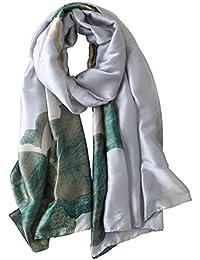 Glitterbugs Womens 100% Mulberry Silk Scarf Long Satin Scarf Fashion Designer Scarf Lightweight Gift,04