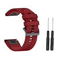 Garmin Fenix 5 Band, Womdee 22mm Width Soft Silicone Watch Strap Compatible With Garmin Fenix 3/ Fenix3 HR/ Fenix5x / Fenix5x Plus / D2 Bravo/Quatix 3/ Tactix Bravo