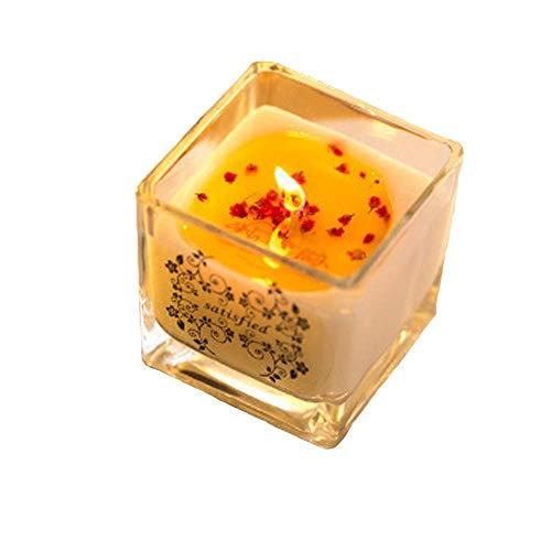 Kerze Aroma Soja Kerze Romantische Hochzeit Glas Blütenblatt Rauchfreies ätherisches Öl Kerze Citrus 6x6x6cm -