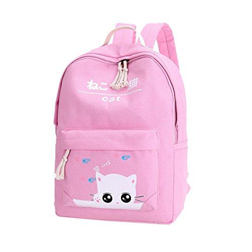 Yy.f Zaino Tela Studente Zaino Tela Zaino Lo Zaino Sacchetti Di Colore Solido Moda Esterna Pratico Interno 2 Colori Pink