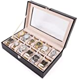 Amzdeal® 12 Grids Watch Storage Display Cases Boxes for Men, Faux Leather Black