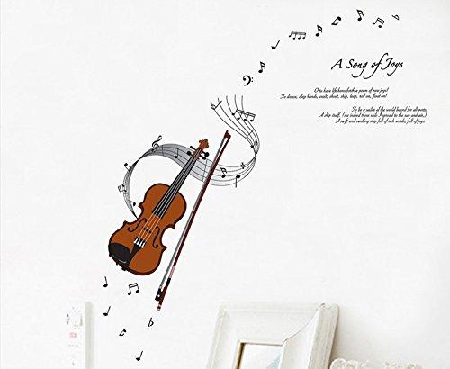 ufengke® Serie Moda Musica di Violino e Note Musicali Adesivi Murali, Camera da Letto Soggiorno Adesivi da Parete Removibili/Stickers Murali/Decorazione Murale