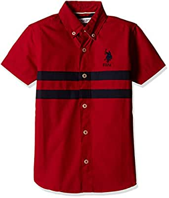 US Polo Association Boys' Shirt (SH5790_Medium Red_EXSHS)